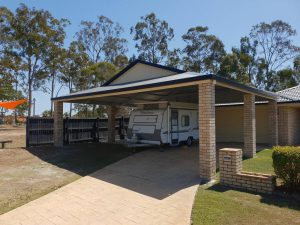 Dutch Gable Carport - 8m long x 9.5m wide x 2.7 high with 20 degree pitch